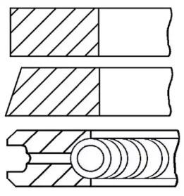 Кольца поршневые 1шт Citroen. Peugeot 1.9D =83 2x2x3 std