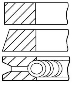 Кольца поршневые 1шт VW Golf 1.4-1.6 ADX/AEE =76.5 1.2x1.5x2.5 std 93>