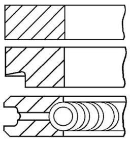 Кольца поршневые 1шт Audi. VW 1.6 BFQ/BGU =81 1x1.2x2 std 00>