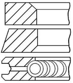 Кольца поршневые 1шт Renault 1.9D F9Q =80 2.5x2x3 std <00