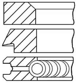 Кольца поршневые 1шт MB OM102 2.0 =89 1.75x2x3.5 std 82>