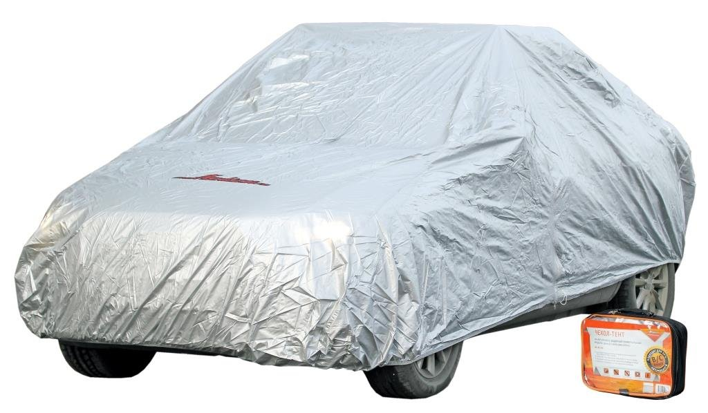Чехол-тент на автомобиль защитный, размер S (455х186х120см), цвет серый, молния для двери, универсальный