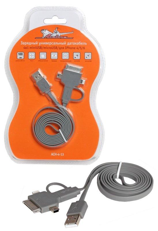 Зарядный универсальный датакабель 4 в 1 miniUSB/microUSB/для IPhone 4/5/