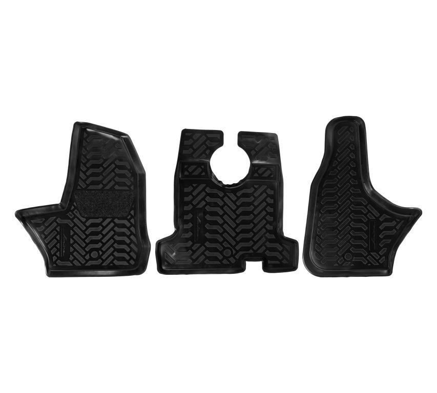 Ковры в салон передние (3D с подпятником) ГАЗон Next (2014-) компл. 3 шт., высокий борт, полимерные, черные ACM-PS-19