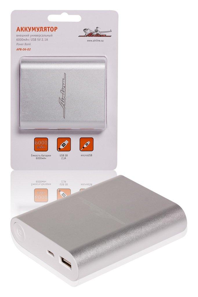 Аккумулятор внешний универсальный 6000мАч: USB 5V 2.1A