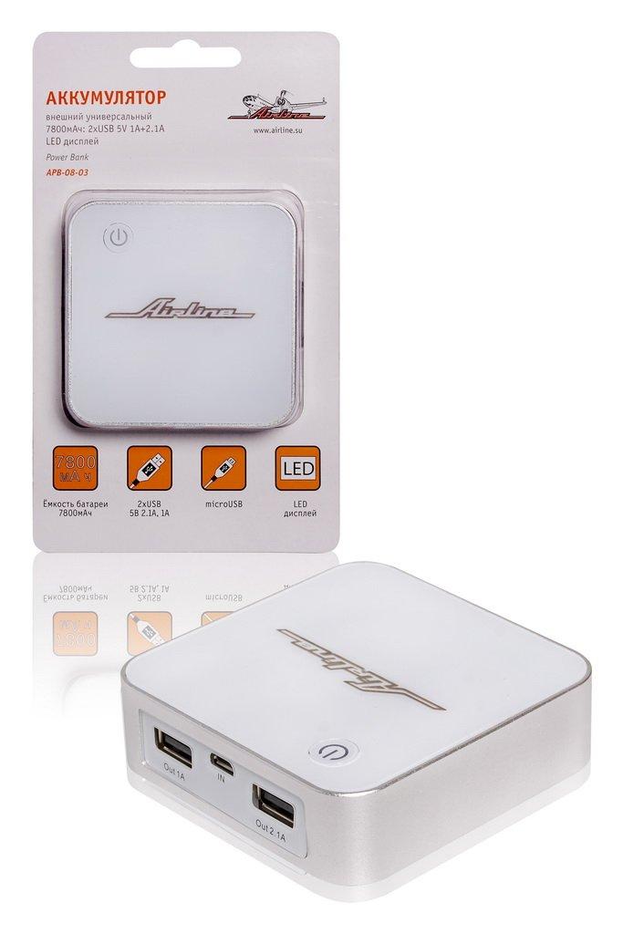 Аккумулятор внешний универсальный 7800мАч: 2хUSB 5V 1A+2.1A LED дисплей (APB-08-03)