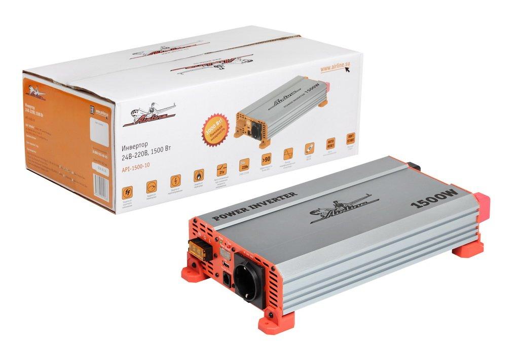 Инвертор напряжения AIRLINE 24V-220V 1500W