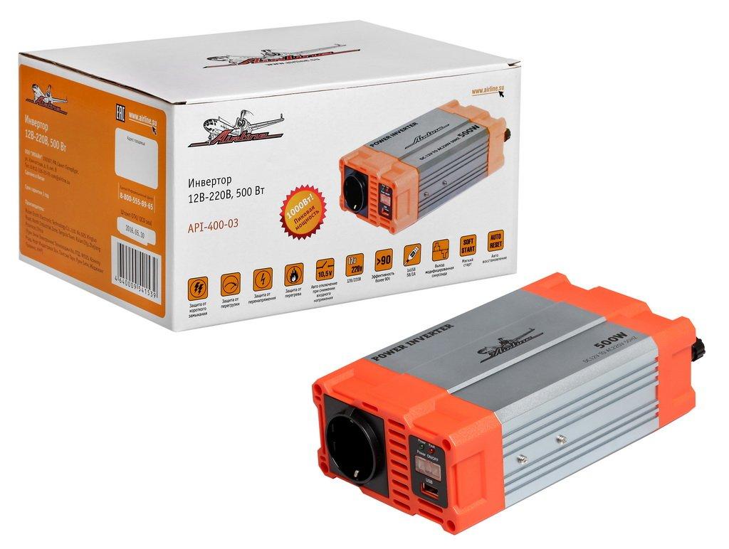 Инвертор 12В-220В  500 Вт (API-400-03)