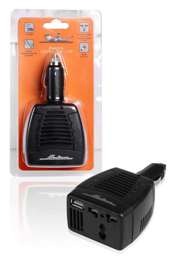 Преобразователь напряжения 12В-220В, 75 Вт + USB