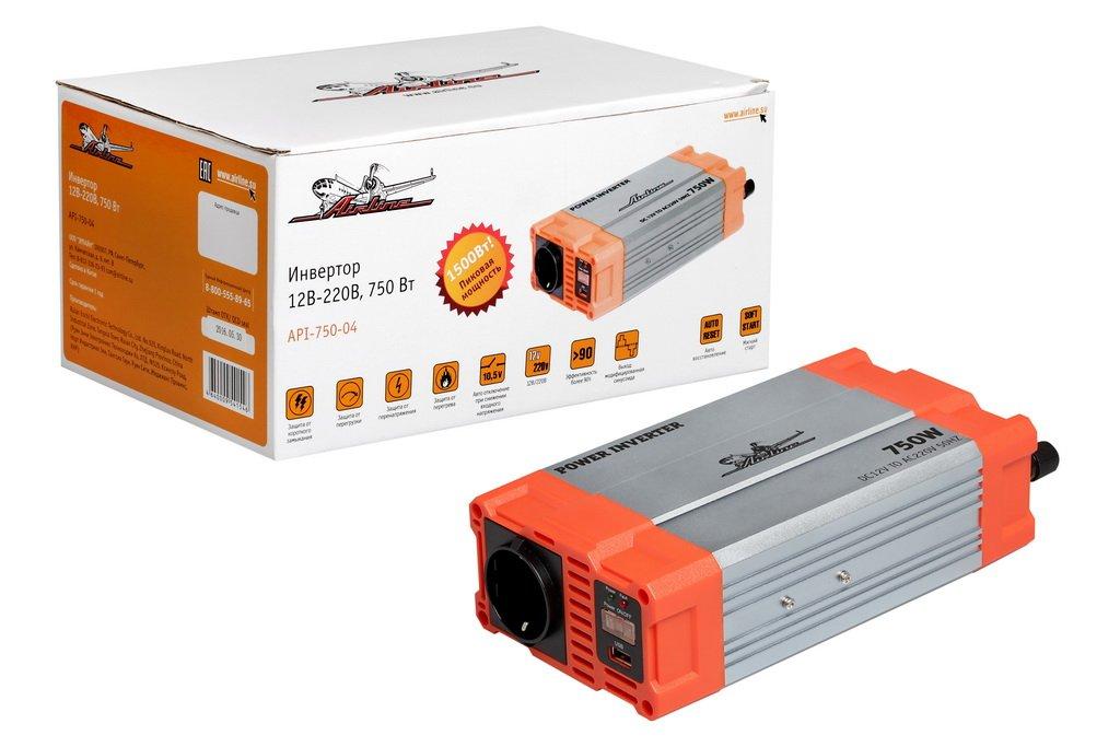 Инвертор 12В-220В  750 Вт (API-750-04)