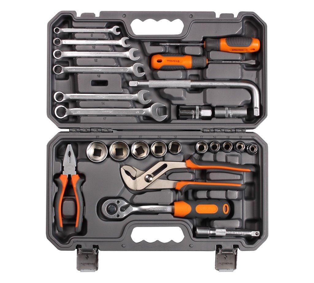 Набор инструментов универсальный 25 предметов, серый пласт.кейс