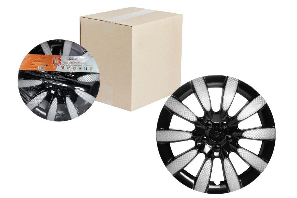 Колпаки колесные 13 Торнадо Т, серебристый/черный, карбон, компл. 2 шт.