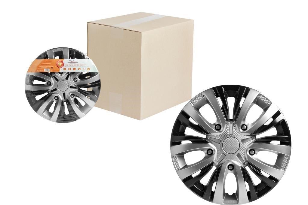 Колпаки колесные 14 Лион Т, серебристый/черный, карбон, компл. 2 шт.