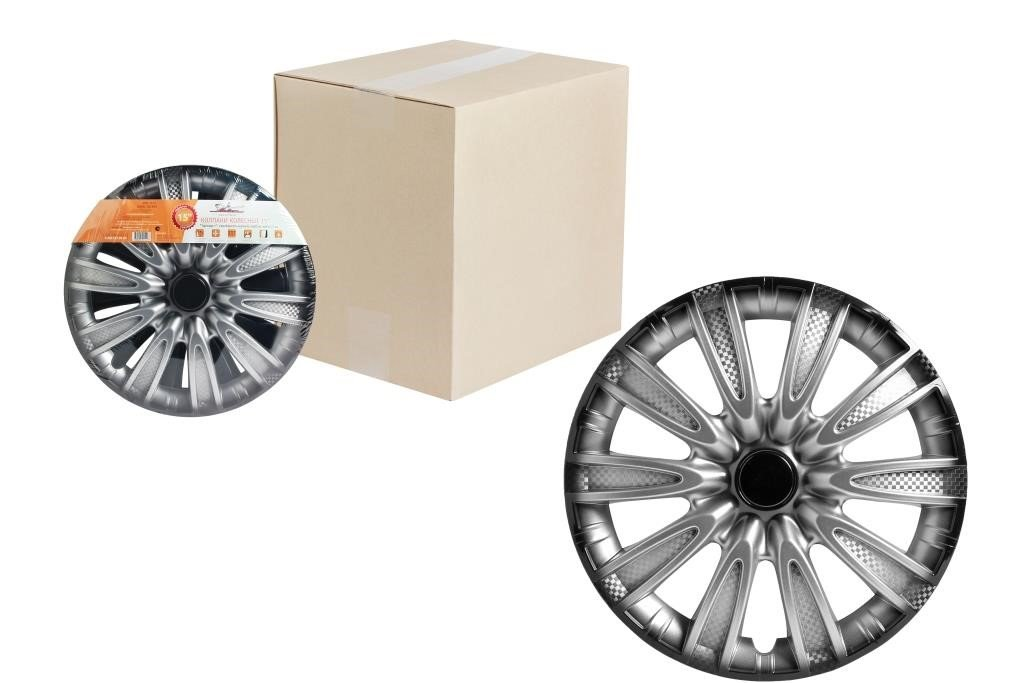Колпаки колесные 14 Торнадо +, серебристо-черный, карбон, компл. 2 шт.