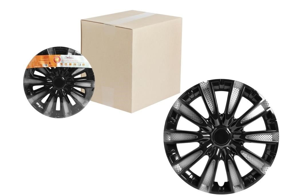 Колпаки колесные 14 Торнадо Т, серебристый/черный, карбон, компл. 2 шт.