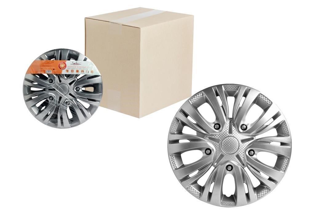 Колпаки колесные 15 Лион, серебристый, карбон, компл. 2 шт.