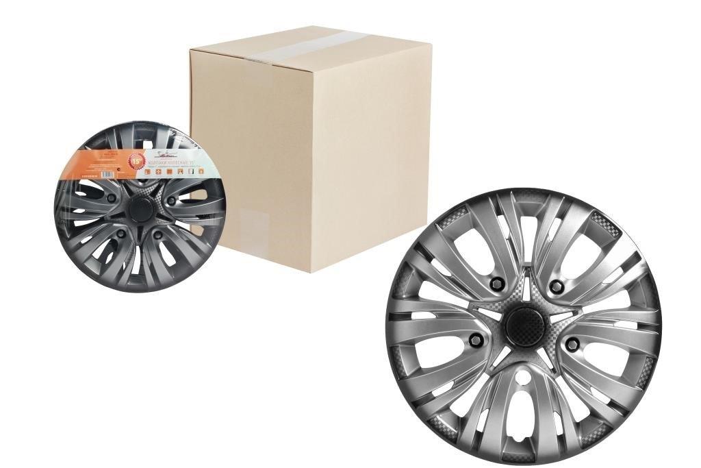 Колпаки колесные 15 Лион +, серебристо-черный, карбон, компл. 2 шт.