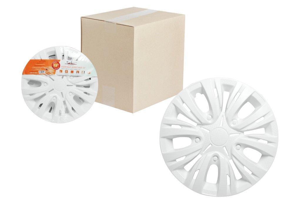 Колпаки колесные 15 Лион, белый, карбон, компл. 2 шт.