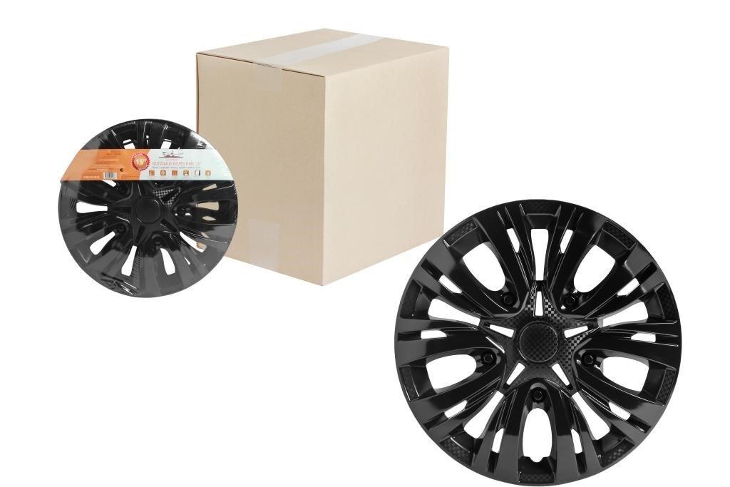 Колпаки колесные 15 Лион, черный глянец, карбон, компл. 2 шт.