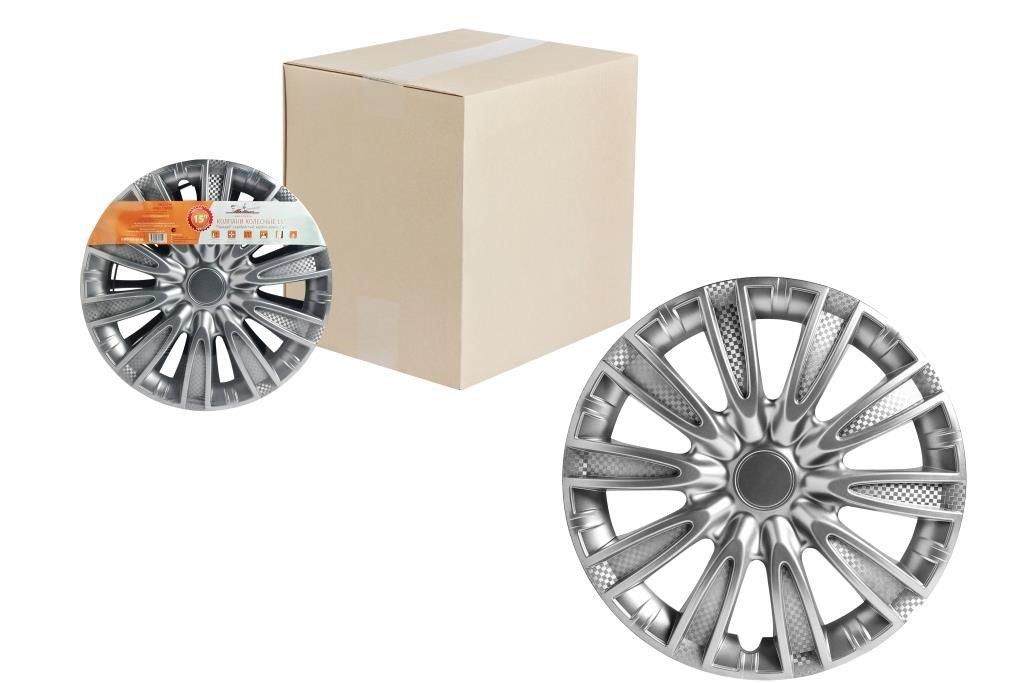 Колпаки колесные 15 Торнадо  серебристый  карбон  компл. 2 шт.