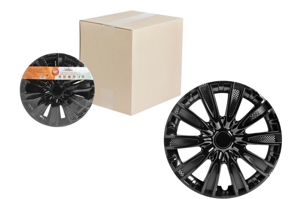 Колпаки колесные 15 Торнадо, черный глянец, карбон, компл. 2 шт.