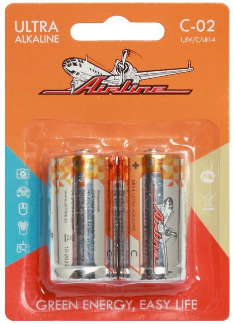 Батарейки LR14/С щелочные 2 шт.